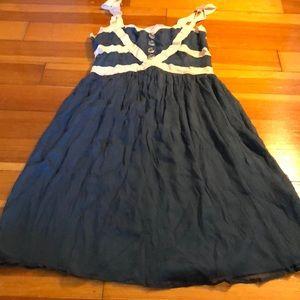 Burlapp Blue and Cream Ribbon Dress